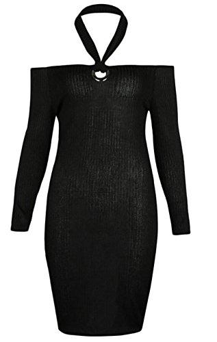 Jaycargogo Couleur Unie Licou De Slim Femme Robe Midi Noir