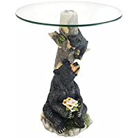 OK Lighting OK-0788N Animal Sculpture End Table 24 H Glass Top Color Sculpture End Table - Bear