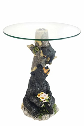 OK Lighting OK-0788N Animal Sculpture End Table 24'' H Glass Top Color Sculpture End Table - Bear by OK Lighting