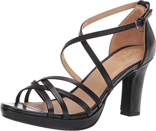 Naturalizer Women's Cecile Heeled Sandals, Black Leather, 8 M US