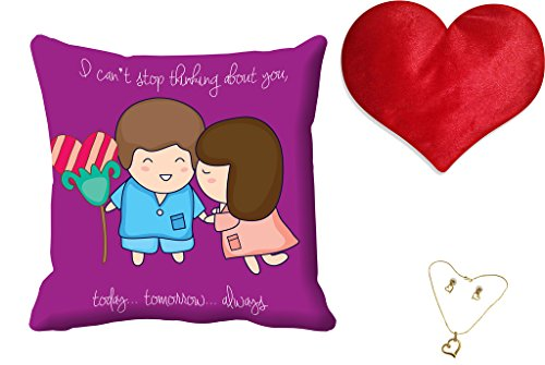 meSleep Purple Quotes Valentine Digital Printed Cushion (With Filler) free and Pendant Set
