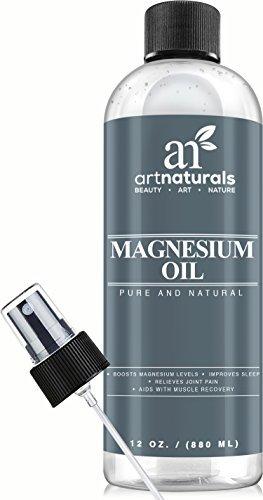 Arte productos naturales magnesio aceite 12 Oz - Desodorante Natural mejor - reduce las migrañas | Dolor muscular y alivio de la articulación
