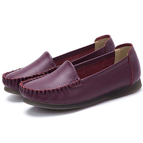 Go Rosa Donne Sindacali Casuali Pantofola Mocassino Scarpe Da Barca Fannulloni Pattini Piatta Scarpe Basse Style2-vino