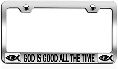 Makoroni - GOD is Good All The TIME Religious Jesus Christianity Chrome Steel Auto SUV License Plate Frame, License Tag Holder
