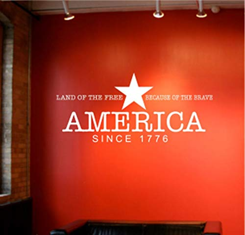 Poetly Vinyl Removable Wall Stickers Mural Decal Art America - Land of The Free, Because of The Brave
