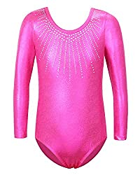 Sleeved Hotpink Dance Outfit With Rhinestones