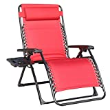 GOLDSUN Comfortable Oversize XL Padded Zero Gravity Lounge Heavy Duty Adjustable Patio Recliner Chair with Cup Holder Support 350lbs,Red Review