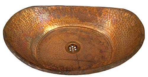 Revival Bowl - Egypt gift shops Rustic Industrial Style Bathtub Bath Tub Boat Shape Pure Natural Copper Bathroom Vessel Bowl Wash Basin Toilet Outdoors Indoors Shower Construction Renovation Remodel Upgrade Revival