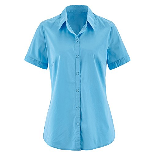 Nordicwinds womens basic simple shirts short sleeve button for Womens tall button down shirts