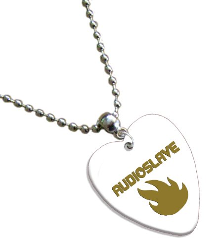 Audioslave Hot Foil on White Love Heart Pick Collier Médiator
