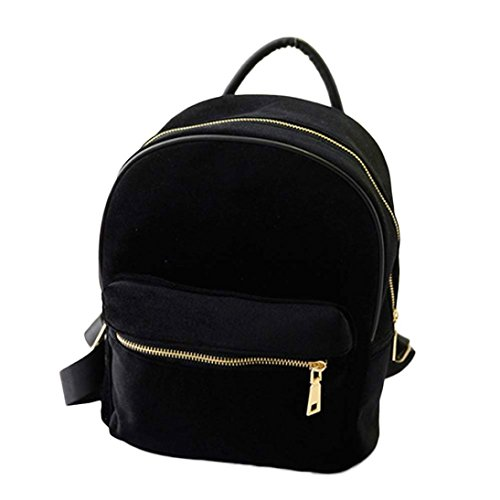 IEason Women Shoulder Bag, Women Gold Velvet Small Rucksack Backpack School Book Shoulder Bag (Black)