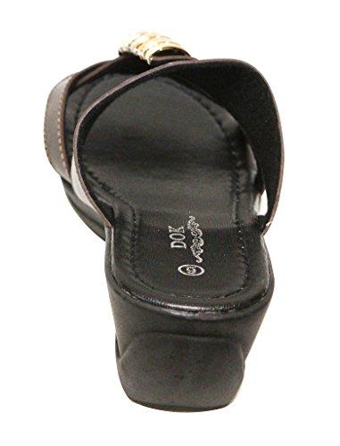 Dok 1350-55 Abbigliamento Casual Donna Sandalo Open Toe In Metallo Dorato Cuneo Zeppa Ciabatte Marrone