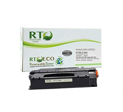 Renewable Toner Compatible MICR Toner Cartridge High Yield Replacement for HP CF280X 80X for HP LaserJet Pro 400 M401 M425 (Micr Toner For Hp Laserjet Pro 400 M401n)