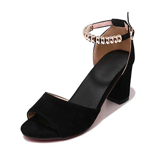 Sandalias Mujer/Sandalia con Pulsera para Mujer/Verano Grandes Astilleros Biselado ranurado Sandals Zapatos de Mujer Black