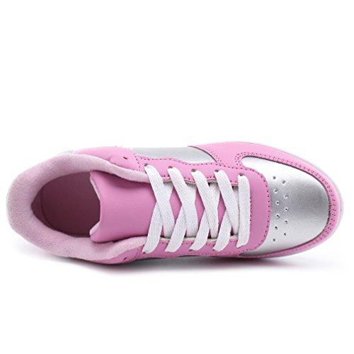 Solshine Damen Mädchen Plateau mit Keilabsatz WALKMAXX Schuhe Runners Turnschuhe Fitnessschuhe Rosa&Silber