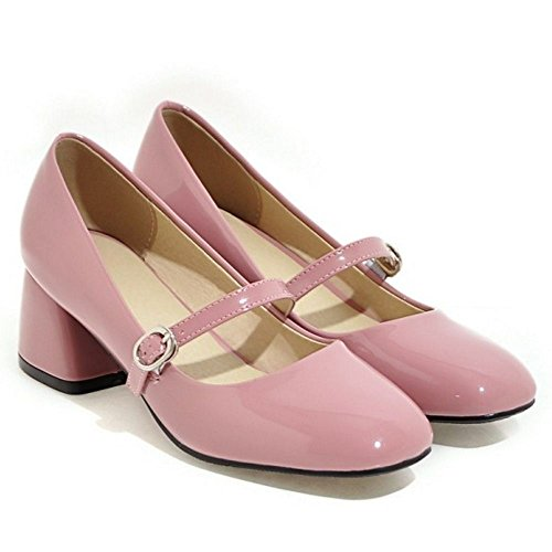Femme Talon RAZAMAZA A Chaussures Bloc Escarpins Bout Enfiler Mary Janes Carre Moyen Ferme Doux Rose adYdw1