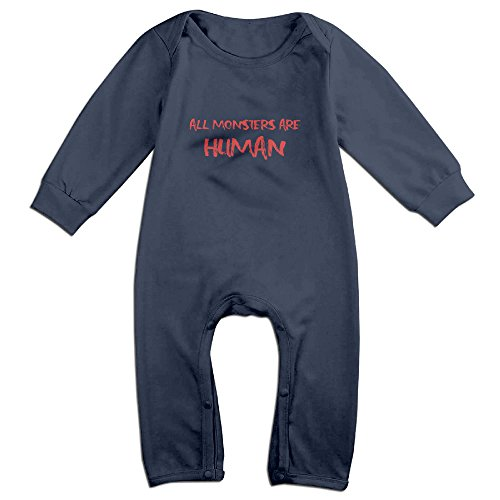 MoMo All Monsters Are Human Baby Romper Playsuit Outfits 12 Months Navy -