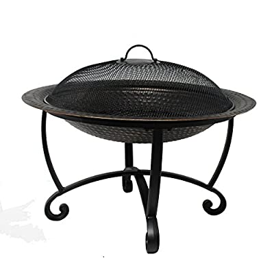 Island Retreat NU2100 Riverside Steel fire Pit, Black - High-class style - this hand-hammered, Steel fire pit features an antique copper finish. The result is a piece that's both classic and contemporary. Long lasting fires - a Steel log grate nestled in the pit increases air flow. Its wide, bowl-shaped design encourages a long-lasting, well-burning fire. Multi-functional lid - the included top closes off the basin when not in use, converting this piece into a stylish Table. It can also be used as a tray for drinks, snacks or desserts. - patio, fire-pits-outdoor-fireplaces, outdoor-decor - 412mbp0Sw5L. SS400  -
