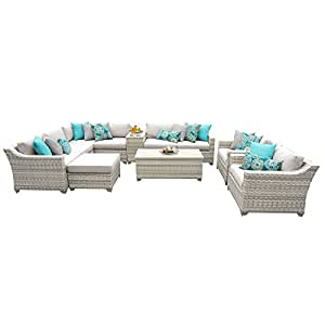 TK Classics Fairmont-12b 12 Piece Outdoor Wicker Patio Furniture Set