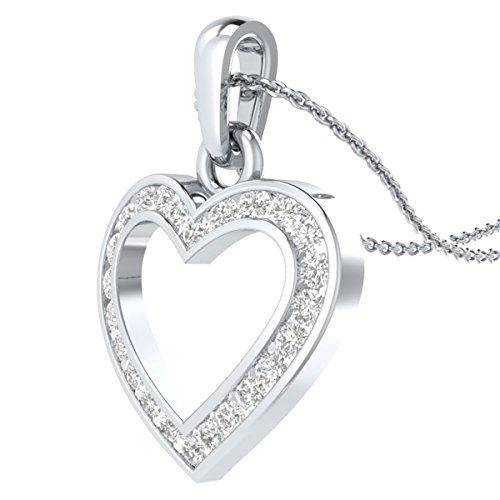 "IGI Certified 1/4 cttw Natural Diamond Heart Pendant in 14k White Gold with Silver Chain, 18"" -"