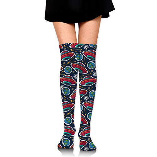 Iu Basketball Halloween (Women's Non Slip Compression Socks, Spring Cool Long Support Hose for Beach Travel Daily Wear, Halloween Cartoon Galaxy Spaceship Earth Iu Kids Thigh High)