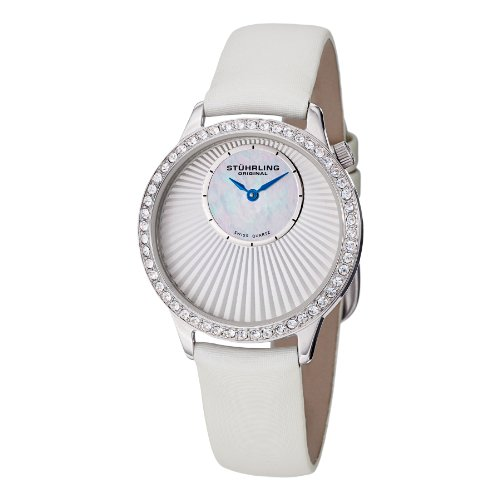 Stuhrling Original Women's 336.121P2 Vogue  Swiss Quartz White Genuine Leather Strap Watch
