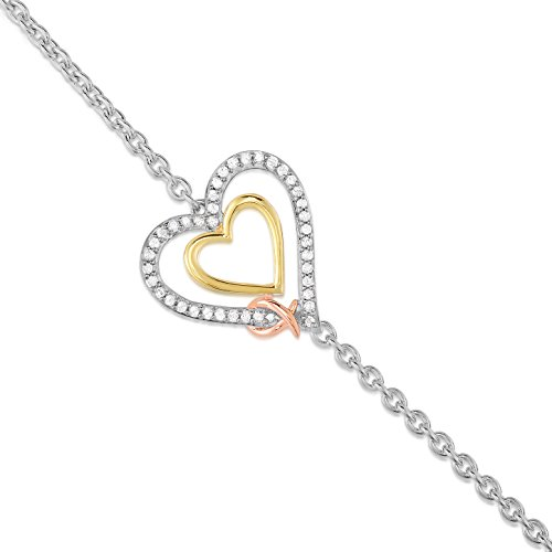 (BLOWOUT SALE City of Hope 14K Yellow & Pink Ribbon Gold Plated Sterling Silver Diamond Heart Bracelet (1/5 cttw, 7.25 Inches))