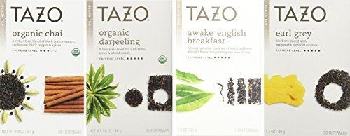 Tazo Black Tea 4 Flavor Variety Pack Sampler (Pack of 4, 80 Bags Total) (Tazo Organic Iced Tea)