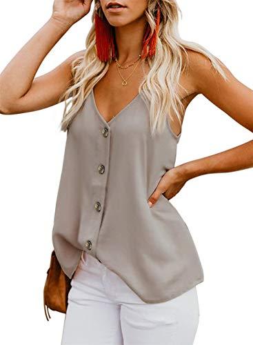noabat V Neck Strappy Tanks Sleeveless Tops for Women Button Down Shirts Apricot ()