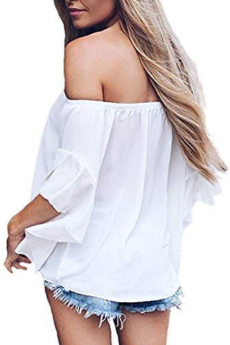 Strisce Bianco Forti Camicette Pullover Tunica Chiffon Estivo Manica Donna Impero Particolari Campana A Spalle Magliette Blusa Ragazza T Camicia Fiocco Volant Top Stile Con Taglie shirt Scoperte Righe RqAn1gwxpF