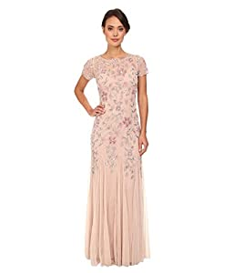 Adrianna Papell Women's Floral Beaded Godet Gown with Sheer Short Sleeves