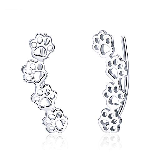 Paw Ear Cuff Wrap Crawler Climber Earrings for Women Teen Girls Sterling Silver Studs Clip On Cute Dog Cat Pin Hypoallergenic Jewelry