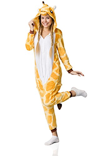 Adult Giraffe Onesie Pajamas Kigurumi Animal Cosplay Costume One Piece Fleece Pjs (M, yellow, white)