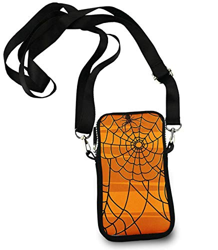 Small Cellphone Wallet Case - Halloween Spider Web - Girls Kawaii Small Phone Holder Pouch, Ladies Women's Handbags for Travel Work School]()