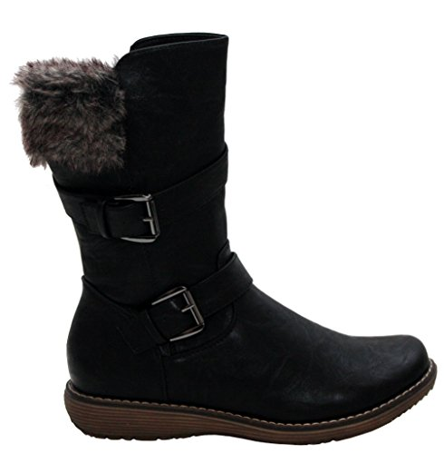 Womens Ladies Fur Fleece Lined Warm Flat Zip Up Winter Snow Black Mid Calf Ankle Boots Shoes Sizes UK 3-8 Black vhy1jpjReK