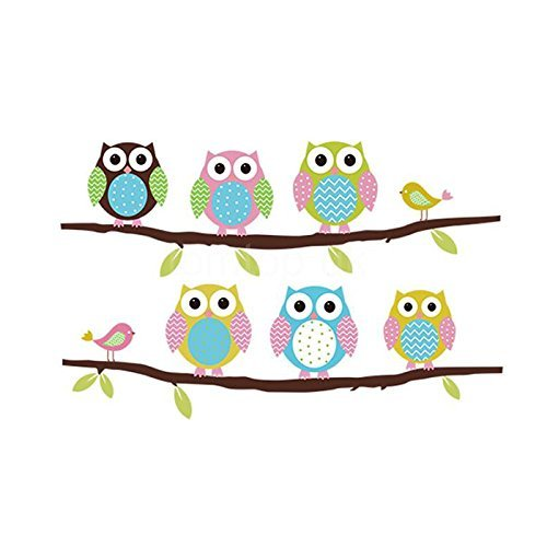FiveRen Wall Decals Colorful Six Lovely Owls Stickers Paper Removable Home Living Dinning Room Bedroom Kitchen Decoration Art Murals DIY Stick Girls Boys Kids Nursery Baby Playroom Bedroom Decorating