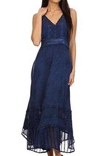 Sakkas 15226 - Jammeh Stonewashed Embroidery Rayon Adjustable Spaghetti Straps Dress - Navy - L/XL
