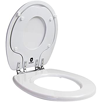 Topseat Round Toilet Seat W Chromed Metal Hinges Wood