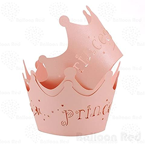 Princess Crown Artistic Filigree Lace Laser Cut Cupcake Wrappers Muffin Case, Pack of 12, Pink - Princess Crown Water
