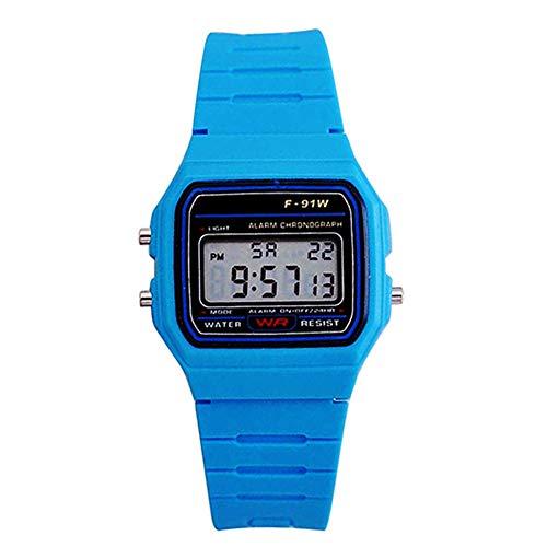 Gaweb LED Women Calendar Rectangle Digital Dial Plastic Band Strap Wrist Watch Gift Light Blue