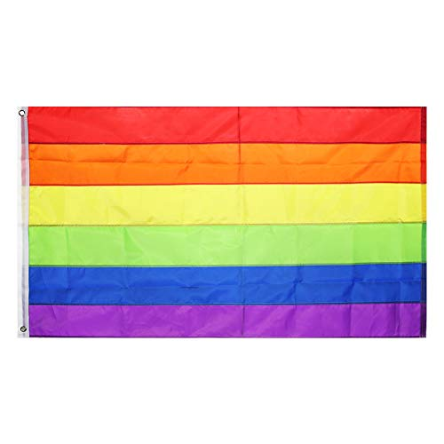 WOWMAR Rainbow Flag LGBT Flag 3x5Ft-Gay Pride Lesbian Flag 100% Made in USA -Vivid Color and UV Fade Resistant with Brass Grommets Nylon Outdoor 3 X 5 Ft Waterproof Banner ()