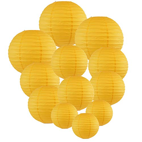 Just Artifacts Decorative Round Chinese Paper Lanterns 12pcs Assorted Sizes (Color: Pineapple Yellow)