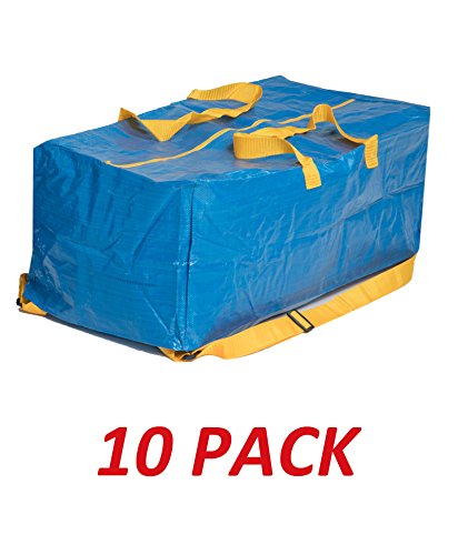 Klickpick Home Heavy Duty Reusable Extra Large Storage Bags -Pack of 10, Laundry Bag Shopping Moving Totes Bags Underbed Storage Bins Zipper -Backpack Handles,Compatible with IKEA FRAKTA CART- Blue (Best Sites To Get College Textbooks)