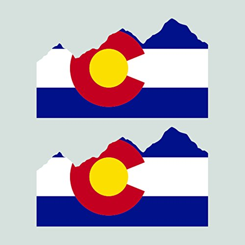 Two Pack Colorado State Flag Rocky Mountains Sticker FA Graphix Vinyl Decal mountain mt