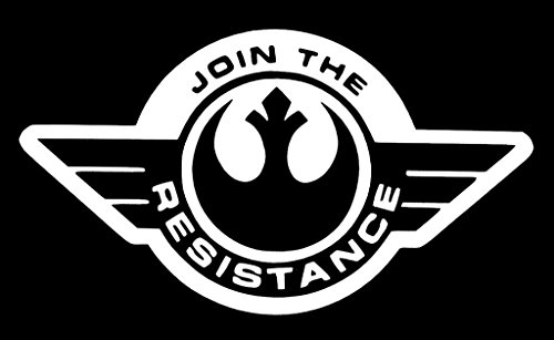 Join the Resistance Star Wars Decal Vinyl Sticker|Cars Trucks Vans Walls Laptop| White |5.5 x 3 in|CCI1346 (T-shirts Rebel Die Flag)