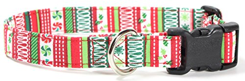 Gingerbread Stripes - Ruff Roxy Christmas Collection 2016, Handmade Fabric Dog Collars (Gingerbread Stripes, S)