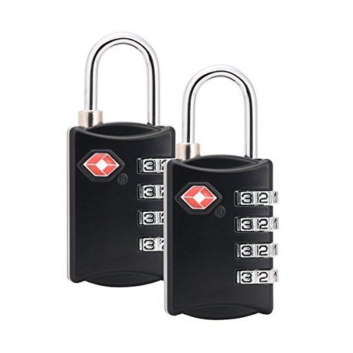 Coralife 2 x TSA Lucchetti a combinazione 4 combinazione della cifra Deposito Lucchetti per bagagli di viaggio Palestra zaino Locker Suitcase (nero)