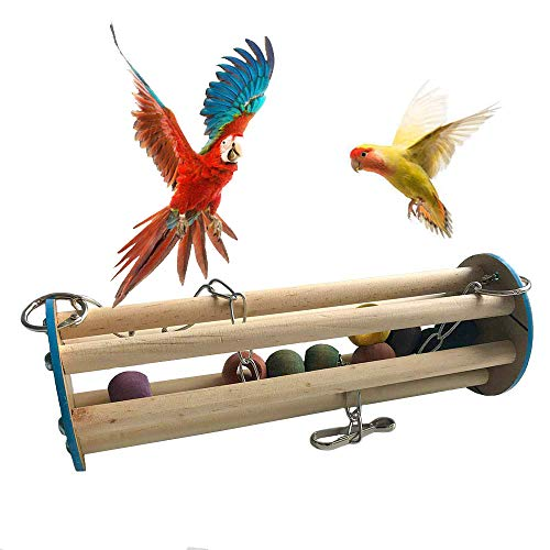 (BLSMU Bird Perch Wood Play Stand,Budgies Carrier,Cockatiel Playground,Parrot Chewing Toy,Training Stands Toys,Hanging Wooden Swing Toy for Lovebirds Cage,Parrot Pet Bird Supplies (Random Color))