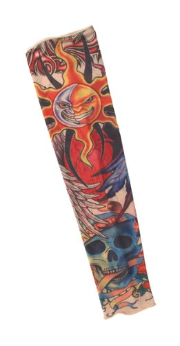 California Costumes Men's Party Like A Rock Star - Tattoo Sleeve (Skull N Roses), Multi, One Size