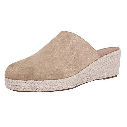 (Ermonn Womens Slip on Espadrille Wedges Closed Toe Backless Mule Cute Summer Slide Sandals Khaki)